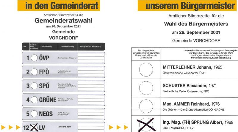 So wählst du die LISTE VORCHDORF in den Gemeinderat und Albert Sprung zu unserem Bürgermeister in Vorchdorf.